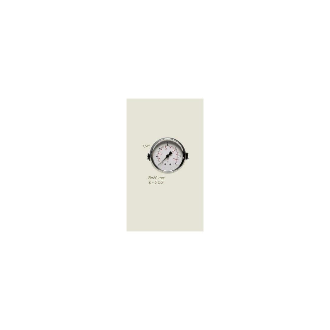 """Manometro vapore diametro 60mm 1/4"""" con staffa fissaggio 0-6 bar"""