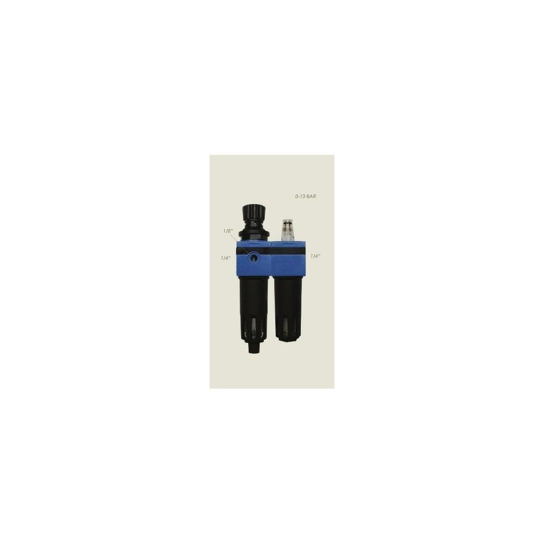 "Kit lubrificatore con manometro FRL 1/4"" max 1 bar"